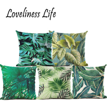 Modern Summer Cushion Cover Rainforest Green Leaf Cushion Cover Coconut Tree Throw Pillow Sofa Decorative Pillows Cover Cojines(China)
