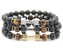 Ailatu 2016 New Design Barbell Jewelry Wholesale 8mm Matte Onyx Stone Beads  Fitness Fashion Life Dumbbell Bracelets