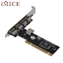 iMice E5 Mecall Tech USB 2.0 4 Port 480Mbps High Speed VIA HUB PCI Controller Card Adapter