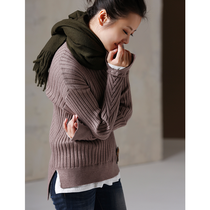 Z1203 Artistic large size slim pit high collar false two thickened bottom knits