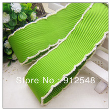 "Ann Fashion Accessories 1""(25mm) green Crochet Grosgrain Ribbon with white edges 10yards/roll Free shipping,MMsd018"