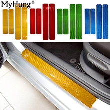 Car Door Sill Welcome Pedal Reflective PVC Stickers For Skoda Octavia A5 A7 2007-2015 4pcs Car Accessories Candy Color(China)