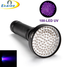 2017 new Portable 100 LED UV Flashlight Handheld Ultraviolet Black Torch Light For Finding Pet Dog and Cat Urine Stain Phosphors
