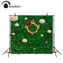 Allenjoy photography background Green foliage wall gold frame wedding theme backdrop photo background studio camera fotografica
