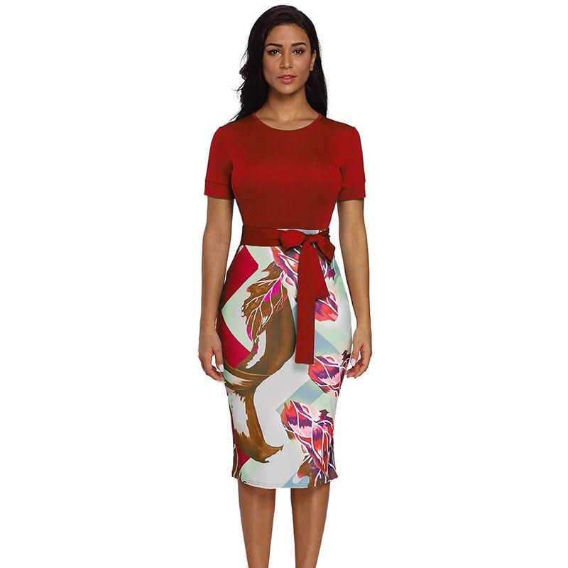 Red-Bowknot-Short-Sleeve-Printed-Sheath-Dress-LC610096-3-1