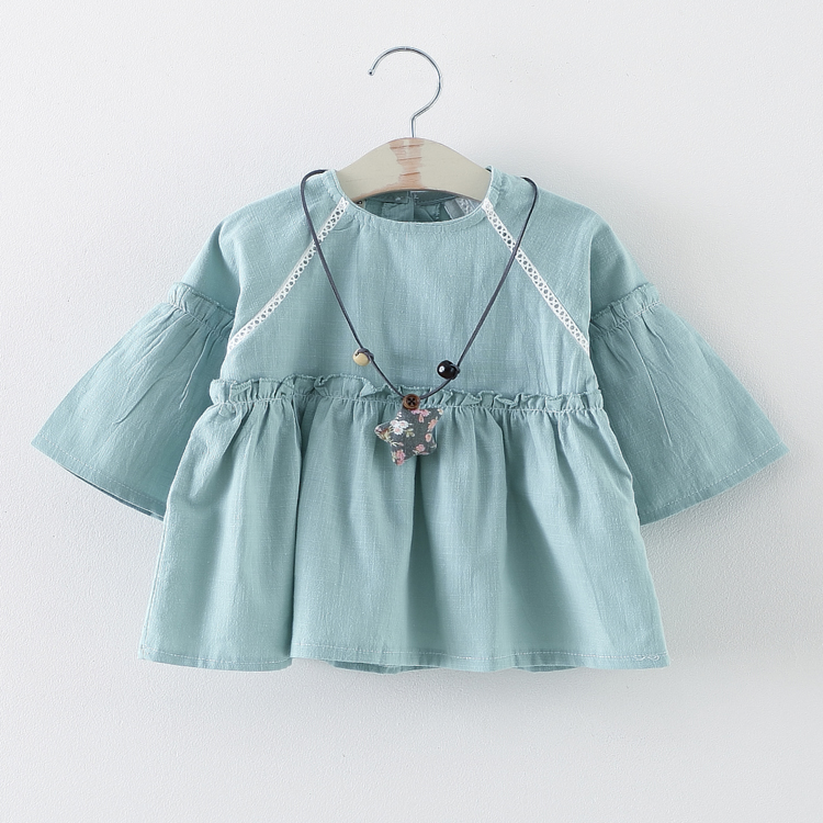 Candy Color Baby Girls Summer Dress Pagoda Sleeve Full Cotton Blue Pink White Colors Necklace Decoration<br><br>Aliexpress