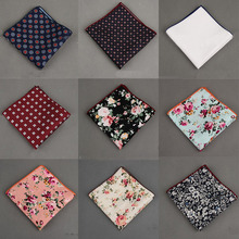 Mantieqingway Cotton+Polyester Handkerchief Floral Printed Pocket Square Wedding 23cm*23cm Hankies For Men Brand Pocket Towel(China)
