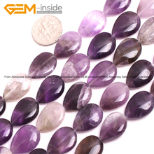 Gem-inside Natural Amethysts Smooth Flat Drop Teardrop Stone Beads For Jewelry Making 15inches DIY Jewellery Selectable Type(China)