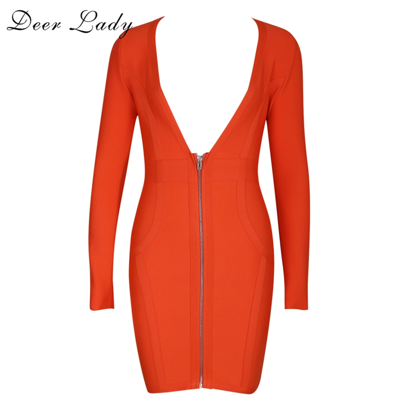Deer Lady HL 2017 Bandage Long Sleeve Dress Front Zipper Dress Sexy V Neck Dress Elastic Autumn Bandage Dress Rayon Black Red