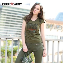 New Tshirt Ladies Summer Brand Short Shirts Women Cotton Fashion Military Outdoors Green T Shirts Women Print Tees Tops Gs-8505A
