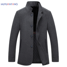 Mu Yuan Yang Autumn Wool Coats Business Casual Men' s Woolen Jackets 2017 Single Breasted Jacket Overcoat Big Size XXL XXXL(China)