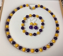 Fashion 8-8.5mm Golden Akoya Cultured Pearl purple chalcedony jades round beads strand Bracelet Necklace Earrings Set BV51(China)