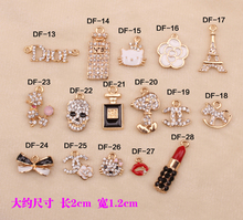 20pcs per lot Cell Phone Case DIY Charms pendant Alloy Crystal Cat Decoration(China)