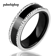 Newest Women Men Rings Black Crystal Ceramic Ring Bling Two Row Rhinestone Ring For Women Wedding Party Jewelry Size 6,Size Hot