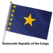 FREE SHIPPING 14x21cm Hand Waving National Flag,10pcs/polybag,DEMOCRATIC REPUBLIC OF THE CONGO FLAGS(China)
