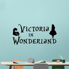 New arrival Personalized Alice In Wonderland Wall Decal Custom Name Cheshire Cat Cartoon Poster Vinyl Sticker Teen room Wall ART(China)