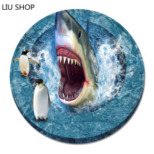 LIU Doormat round 3D shark flannel clock eyes basket computer chair mat living room carpet cushion hallway pad floor rug 55cm(China)