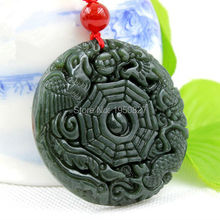Natural Jades Pendant Hand-carved Hetian green Dragon Phoenix Pendant Necklace Fine Statues Jewelry For Women Men Free Rope