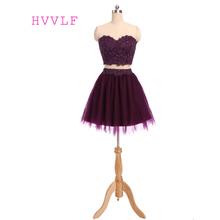 Two Pieces 2017 Homecoming Dresses A-line Sweetheart Short Mini Purple Appliques Beaded Lace Cocktail Dresses(China)