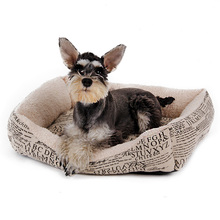 Hot Pet Bed Old Paper Printing Home Style Super Soft Autumn/Winter Medium Puppy Pets Using Kitten Cat Kennel 3 sizes Available(China)
