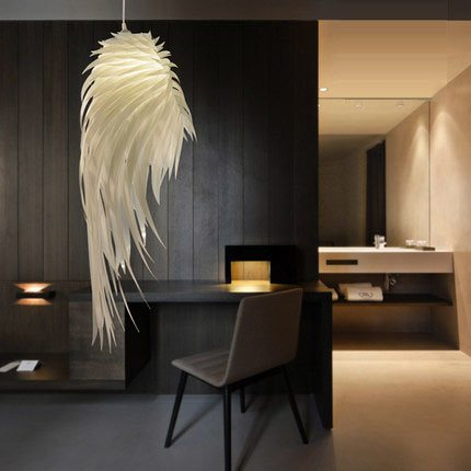 Feather Lamp Pendant Light Lamps Plastic Angel Wings Modern Romantic Pvc Hanging Lamp Lamparas Lustre E27 Base For Bedroom <br>