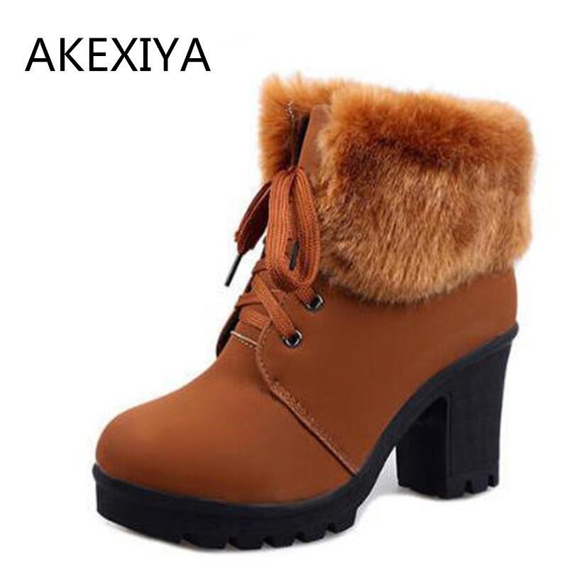 Hot 2016Artificial Fur Ankle Boots Fashion Ladies Lace-Up Ankle Boot Warm Winter Boots High Heels Platform Shoes Woman<br><br>Aliexpress