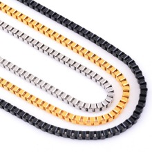 3mm Stainless Steel Box Chain Necklace High Quality Link Men Necklaces Silver/Gold/Black Color(China)