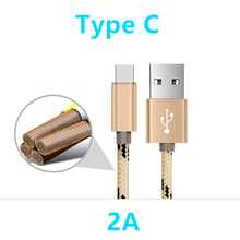 Nylon Nickel plated USB Type C cable 2A 25cm 1M Alloy adapter wire fast charge Type-C cable for Xiaomi Mi5 Mi4c 5s Meizu Letv 2