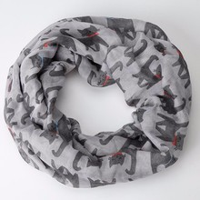 2017 summer   fashion style Ladies Girl Voile Bow Cat Printed Pattern Silk Collar Neck Warmer Ring Scarf Wrap Shawl Scarf