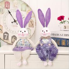 Fabric Rabbit Figures Figurines Resin Artware Lovely Lover Toy Ornaments Linen Doll For Home Decoration 2 Pcs/Set Free Shipping