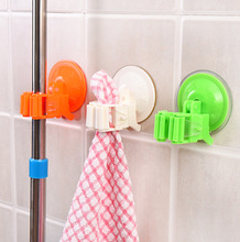 Plastic Mop Broom Holder Rack with Suctions Hanger Home Kitchen Storage Broom Organizer Wall Mounted Five Colors Free Shipping