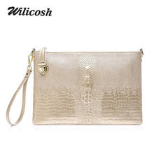 Wilicosh 100% genuine leather women's purses and wallets large capcity women purse wallet clutch bag female gold clutches WL515