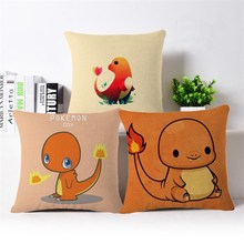 hot Japanese cartoon orange small fire dragon Home Birthday Gift Decorative Cushion Covers 45x45cm car sofa pillow case(China)