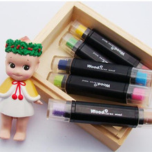 Free shipping Lovely Creative double colors pen Ink stamp pad Inkpad set for DIY funny work