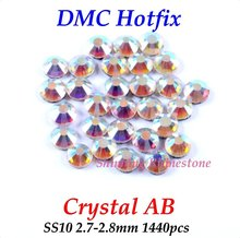 DMC Crystal AB SS10 2.7-2.8mm Glass Crystals Hotfix Rhinestone Iron-on Rhinestones Shiny DIY Garment Bag With Glue