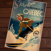 Ski in Quebec of Canada Map Classic Vintage Retro Kraft Decorative Poster Maps Travel Posters Wall Sticker Decor Gift(China)