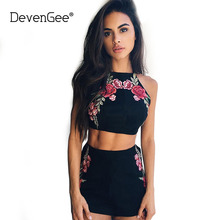 Buy DevenGee Sexy Flower Embroidery Women's Costumes Vintage Two Piece Set Pantsuit Women Halter Crop Top Skirt Kits Clothing