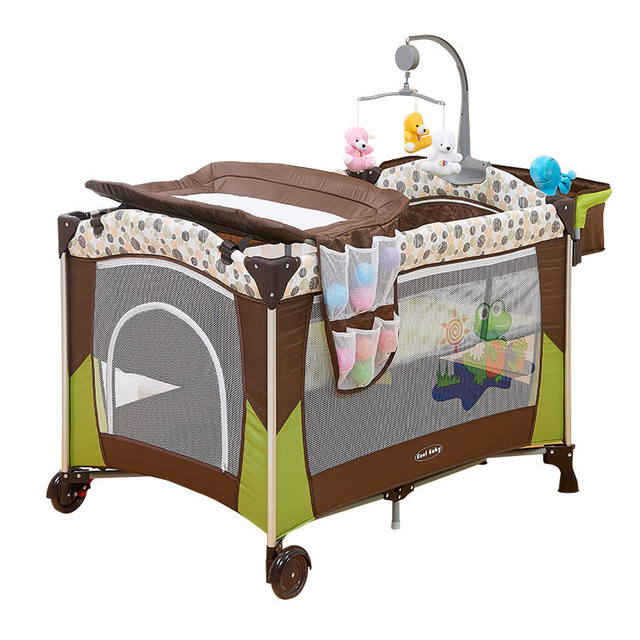 Portable Baby Crib Multi Functional Folding Bed With Diapers Changing Table Travel Child Game