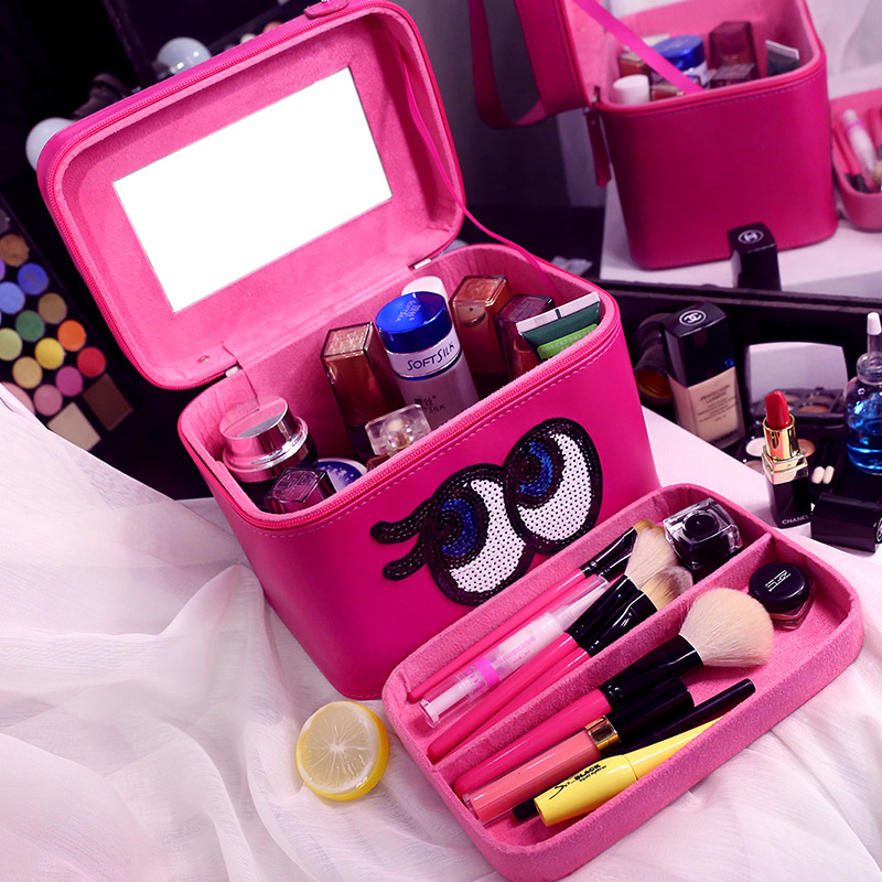 Hot Sales High Quality PU Leather Professional Cosmetic Case Portable Women Makeup Case Cartoon Eyes with Compartment Makeup Bag<br>