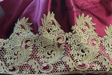 1Yard Victorian Antique Gold Embroidery Lace Trim in Metallic Gold for Bridal,Wedding Gown, Costume design(China)