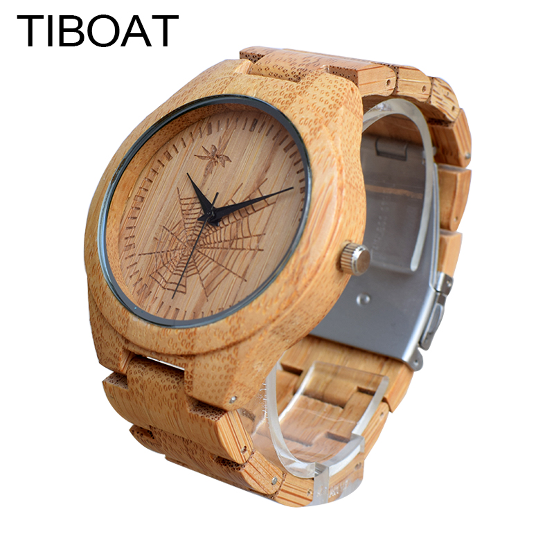 TIBOAT Simple Men Watch Spider Web Pattern Nature Wood Bamboo Wrist Watch Bamboo Strap Men Women Sport Creative Wristwatches<br>