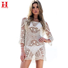 2017 Sexy Womens Swim Wear Cover Up Bathing Suit Cover Up Beach Wear One Piece Crochet women Beach Dress Swimwear Cover(China)