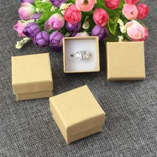 48PCS/Lot 4*4*3cm Kraft Ring Box Earring Box Jewelry Carry Case Blank Gift Boxes Jewelry Classic Box Package Kraft Gift Displays