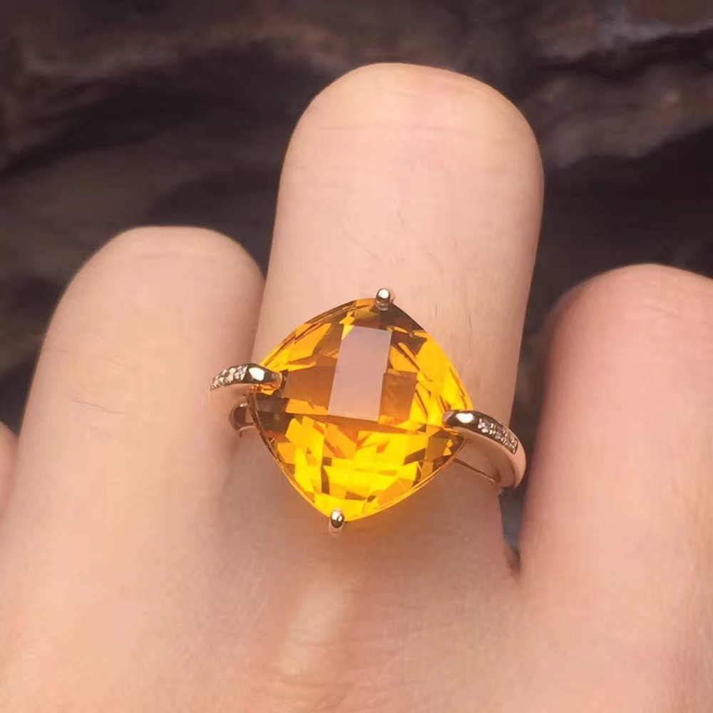 Clover 115mm Fine Jewelry Affordable Good For Money Clean Real 18k Gold  Natural Citrine Ring