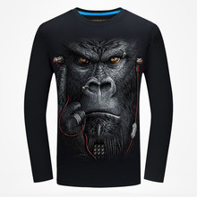 New Arrival 2017 Autumn Men 3D Printed Long Sleeve T-Shirt Animal Pattern Male Fashion hip hop Tshirt Unisex Shirts Streetwear(China)