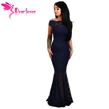 Dear-Lover Lace Dresses Party Gowns Off Shoulder Ladies Robe de Soiree Navy Fishtail Maxi Dress Vestidos longo de festa LC61481(China)