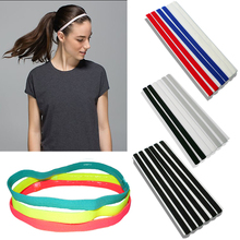 Sports Elastic Headband Softball Rubber Plastic Silicone Hair Band Bandage On Head Gum For Hair(China)