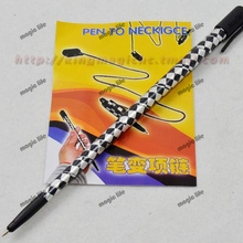 Wholesale 10pcs each lot Pen To Necklace neck chain FISM product magic tricks magic props close up magic