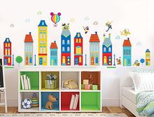 wholesale Children room background can remove stickers cartoon house building wall stickers lovely Mickey XY1128(China)