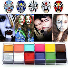 1 Set 12 Colors Flash Tattoo Face Body Paint Oil Painting Art Halloween Party Fancy Dress Beauty Makeup Tools